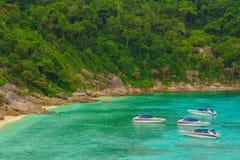 Touristische Schnellboote an in Pattaya, Thailand Lizenzfreies Stockbild