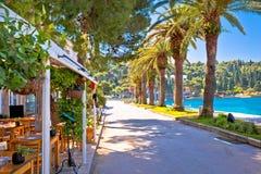 Touristische Ufergegendstraße in Cavtat-Ansicht Lizenzfreie Stockbilder