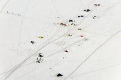 Touristische Zelte nahe Aiguille du Midi, Frankreich Stockfotos