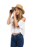 Touristischer Fotograf Woman Takes ein Foto-Schuss Stockfotografie