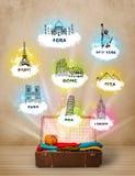Touristischer Koffer mit berühmten Marksteinen auf der ganzen Welt Stockfotos