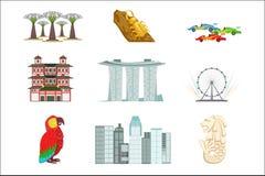 Touristischer Symbol-Satz Singapurs stockfotografie
