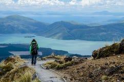 Touristischer Wanderer des Mädchens, der Ansicht von See Rotoaira und von See Taupo von alpiner Kreuzungswanderung Tongariro mit  lizenzfreie stockbilder