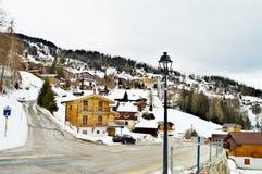 Touristisches Dorf Tzoumaz stockbilder