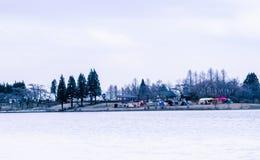 Touristisches Kampieren am Tanuki See stockfoto