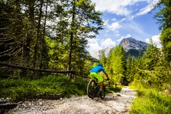Touristisches Radfahren in Cortina d'Ampezzo, erstaunliche felsige Berge auf dem Hintergrund Mann, der MTB-enduro Flussspur reite stockbild