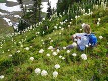 Touristisches Sitzen der Frau unter wilden Blumen mit Ansicht Lizenzfreie Stockfotografie