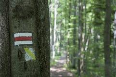 Touristisches Zeichen oder Kennzeichen in den Bergen Lizenzfreie Stockfotografie