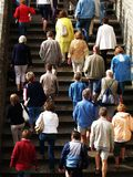Tourists. Crowd of tourists and stairs Royalty Free Stock Photos