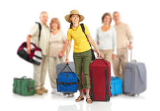 Tourists. Happy tourist people. Isolated over white background Royalty Free Stock Photo
