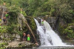 Tourists at the Abrams Falls Stock Photos