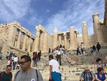 Tourists at Acropolis, Athens, Greece Royalty Free Stock Images