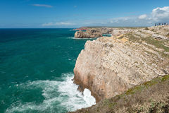Tourists admire cliffs and view from Continental Europe's most South-western point. SAINT VINCENT CAPE, PORTUGAL - APRIL 12, 2016 - Tourists admire cliffs and royalty free stock image