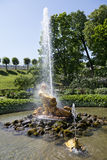 Tourists admire Greenhouse fountain with a sculpture of Triton, Stock Images