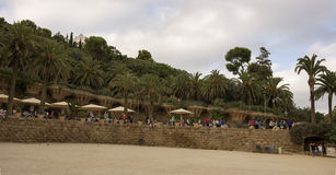 Tourists admire the Park Guell Royalty Free Stock Photos