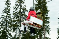 Tourists admire the picturesque landscapes of the Ukrainian carpathians from the observation lifts stock photos