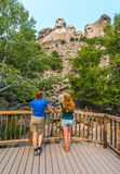 Tourists admiring the Mount Rushmore National Memorial Sculpture Royalty Free Stock Photo