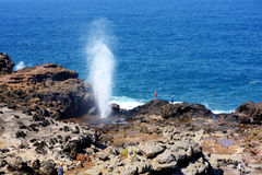 Tourists admiring the Nakalele blowhole on the Maui coastline. A jet of water and air is violently forced out through the hole in Stock Images
