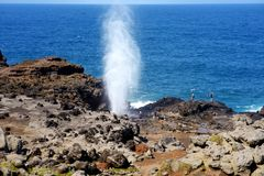 Tourists admiring the Nakalele blowhole on the Maui coastline. A jet of water and air is violently forced out through the hole in. The rocks. Hawaii, USA Royalty Free Stock Photo