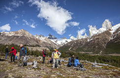 Tourists Admiring Scenic View Of Mount Fitz Roy, One Of The Most Beautiful Places In Patagonia, Argentina. Royalty Free Stock Photography