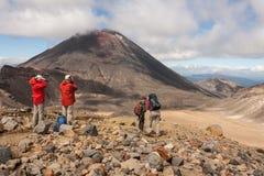 Free Tourists Admiring Volcano In Tongariro National Park Royalty Free Stock Photos - 52812008