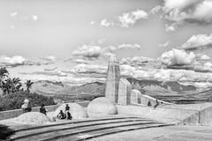 Tourists at the Afrikaans Language Monument at Paarl. Monochrome royalty free stock image