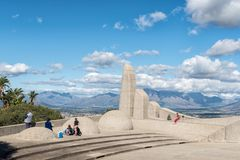 Tourists at the Afrikaans Language Monument at Paarl stock photos