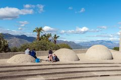 Tourists at the Afrikaans Language Monument at Paarl stock photography