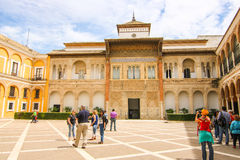 Tourists at Alcazar castle Royalty Free Stock Photography