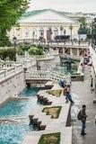 Tourists in the Alexander Garden fountains Royalty Free Stock Photos