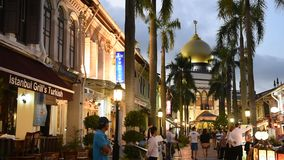 Tourists along Arab Street stock video