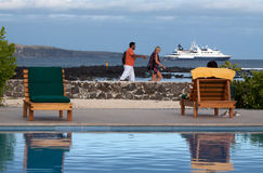 Tourists along the shore enjoying the Galapagos Stock Photos