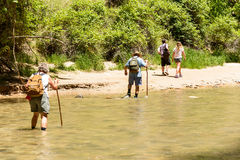 Tourists along the Virgin River Royalty Free Stock Images