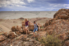 Tourists in the Altai Mountains Royalty Free Stock Photo