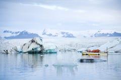 Tourists on amphibious vehicle at Jokulsarlon Royalty Free Stock Photo