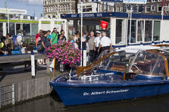 Tourists in Amsterdam Royalty Free Stock Images