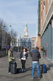 Tourists in amsterdam Royalty Free Stock Photo