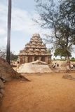 Tourists at ancient Pancha Rathas temple, Mahabalipuram Stock Images