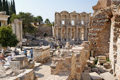 Tourists in ancient Roman city of Ephesus Turkey Royalty Free Stock Images