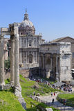 Tourists in ancient Rome, Italy royalty free stock images