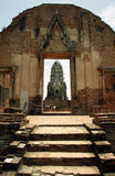 Tourists in ancient ruins of Hindu temple in Ayutthaya Royalty Free Stock Photography