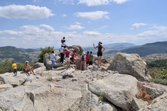 Tourists at the ancient ruins of Perperikon Stock Images