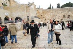 Tourists at the ancient Wailing Wall Royalty Free Stock Photography