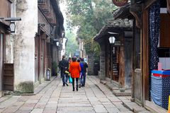 Tourists are sightseeing in the ancient water town Wuzhen (Unesco), China Royalty Free Stock Photos