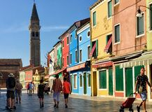 Free Tourists And Locals Walking Through The Beautiful Town Square Of Burano, Italy. T Royalty Free Stock Photos - 152213258