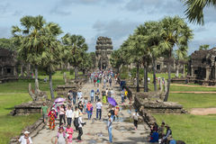 Tourists at Angkor Wat, Cambodia Royalty Free Stock Images