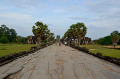 Tourists at Angkor Wat temple Royalty Free Stock Image
