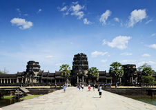 Tourists at angkor wat temples landmark in siem reap cambodia Stock Image
