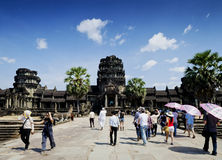 Tourists at angkor wat temples landmark in siem reap cambodia Stock Images