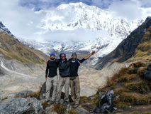 Tourists at Annapurna Base Camp Royalty Free Stock Photos
